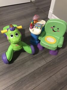 Fisher price chair and dinosaur walker/ride-on toys