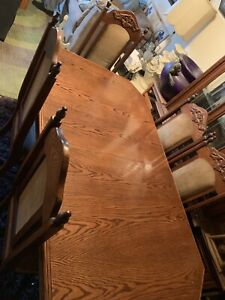 ANTIQUE DINING TABLE AND WOOD HUTCH AND BUFFET