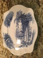 China transfer ware Platter and Gravy boat and tray