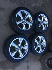 """OEM MUSTANG 18"""" CHROME WHEELS AND 255/45R18 TIRES $1100"""