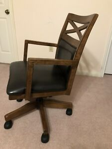 Leather wooden office chair