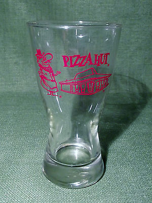 Vintage 1970s Pizza Hut Red Roof Pete Drinking Glass Advertising Collectible