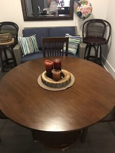 Full dining room table set with chairs - round/brown