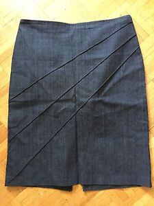 Charcoal denim-stretch skirt