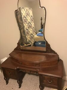 Antique headboard and dressing table with mirror