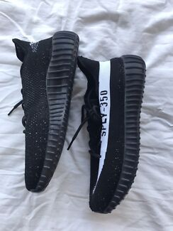 ADIDAS YEEZY BOOST V2 BLACK WHITE US 9.5 WORK ONCE