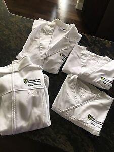 Nursing student scrub tops, lab jacket, and fleece jacket