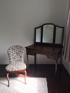 Antique Mahogany Vanity/Dressing Table and Chair