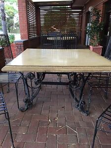 Wrought iron concrete table and 8 chairs Willaston Gawler Area Preview