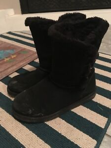 Black fur lined boots-size 8