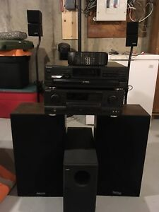Technics amp/receiver and 5 disk CD player with Bose speakers