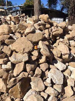 Sandstone rocks boulders Gabion stones  topsoil fill gravel