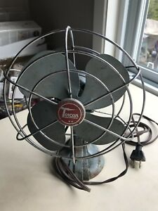 Vintage Torcan Electric Fan Cast Iron base Art Deco Single speed