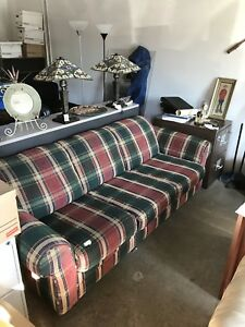 Plaid pullout couch