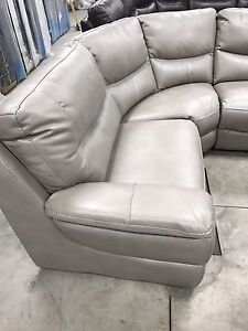 New Pewter leather 5Pce stationary sofa sectional 3 colors $2700