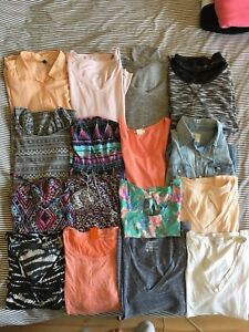 Women small clothes lot (tops, t-shirt, long sleeve, dress)