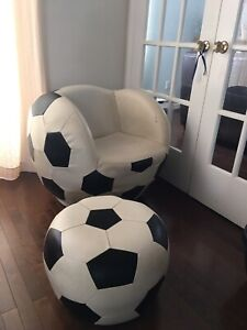 Soccer chair and ottoman