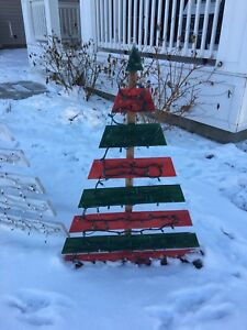 Rustic painted Christmas trees with lights made locally