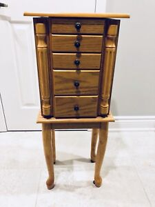 Antique jewellery cabinet / box solid oak