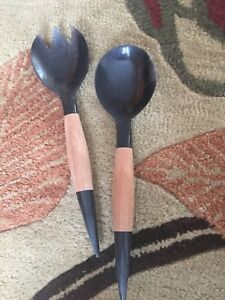 Unique Artisan large salad spoon and serving fork