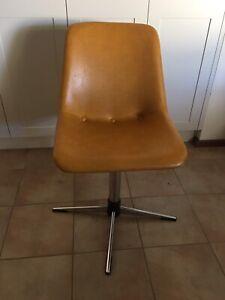 4x Orange Vintage/Retro Swivel Dining Chairs