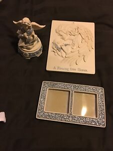 Sarah's angels  music box, picture frame, mother-baby plaque.