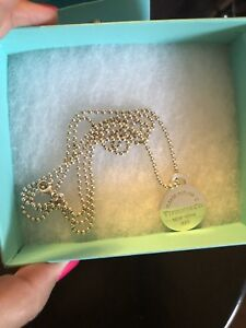 Tiffany Long Beaded Round Tag Necklace Excellent $299