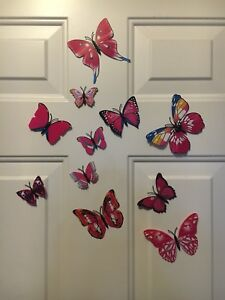 Magnetic or wall stick butterfly decor