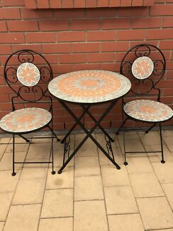 3 PIECE MOSAIC & IRON PATIO OUTDOOR SETTING