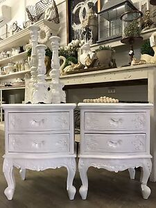 Pair of White French Style Bedside Tables Richmond Hawkesbury Area Preview