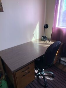 Study table with chair and lamp