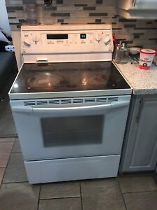 White flat top working stove