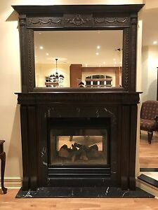 Wood fireplace mantle and optional mirror with matching frame