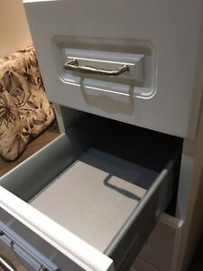 "12"" bank of drawers, Lausanne cabinet fronts by Home Dept, white"