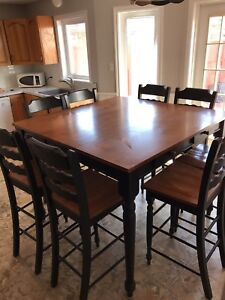 Bar height kitchen dining table