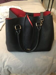 Black with red interior cross body bag