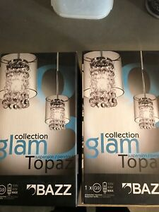 2x hanging glam topaz lights never opened