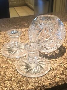 Chrystal Vase & candlestick holders