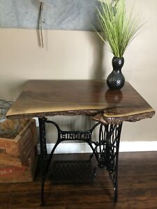 Live Edge Walnut Table on Antique Singer Sewing Machine Base