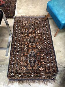 Hand Knotted Vintage Kazakh Rug Wool Carpet