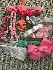 Lot of 12 Baby Girl Headbands! Bows, flowers, lace!