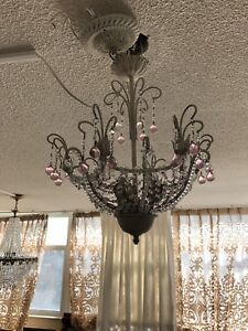 White pink beaded chandelier