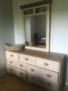 Dresser w/mirror, two night stands and matching queen headboard