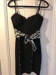 Black Dress with Leopard Detailing and Silk Belt
