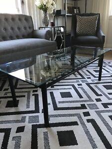 Industrial feel glass metal coffee table $30