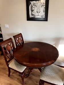 Solid wood dining table and chairs with matching entrance table