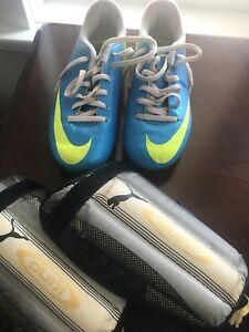 Soccer boots and shin pads
