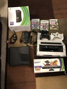 XBOX 360 S W/ Kinect, 2 Controllers, 3 Games and a Keyboard.