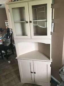 Beige pine corner display cupboard