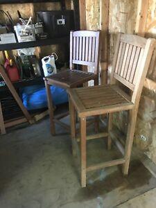 Teak bar stool chairs